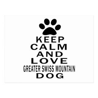 Keep Calm And Love Greater Swiss Mountain Dog. Postcard