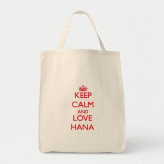 Keep Calm and Love Hana Grocery Tote Bag