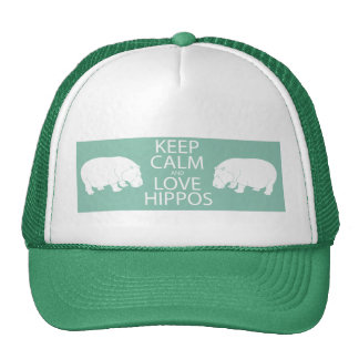 Keep Calm and Love Hippos Print Hippopotamus Cap