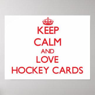 Keep calm and love Hockey Cards Print