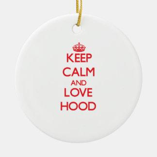 Keep calm and love Hood Ornaments