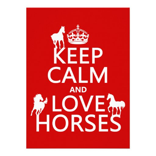 Keep Calm and Love Horses - all colors Invitations