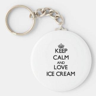 Keep calm and love Ice Cream Keychain