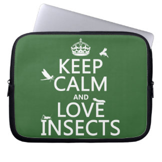 Keep Calm and Love Insects any background colour Laptop Computer Sleeves