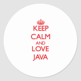 Keep calm and love Java Round Stickers