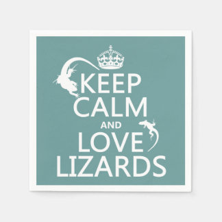 Keep Calm and Love Lizards - all colors Disposable Serviette