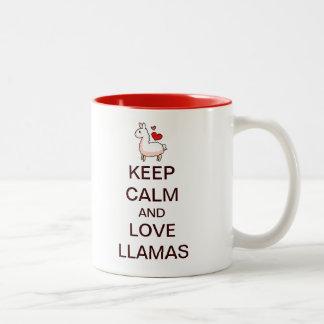 Keep Calm and Love Llamas Two-Tone Coffee Mug