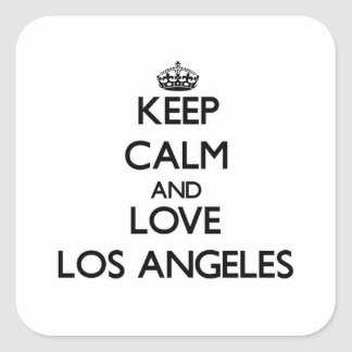 Keep Calm and love Los Angeles Square Sticker