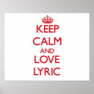 Keep Calm and Love Lyric Print