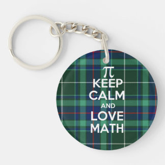 Keep Calm and Love Math tartan plaid Key Ring