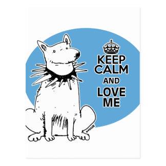 keep calm and love me cartoon style white dog postcard