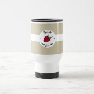 """Keep Calm and Love Me"" mills red love Travel Mug"