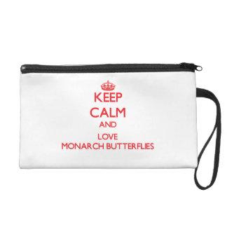 Keep calm and love Monarch Butterflies Wristlet Purse