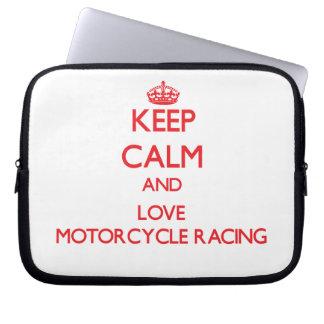 Keep calm and love Motorcycle Racing Laptop Sleeve