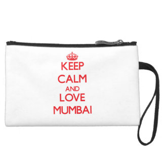 Keep Calm and Love Mumbai Suede Wristlet