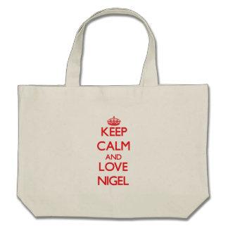 Keep Calm and Love Nigel Canvas Bags