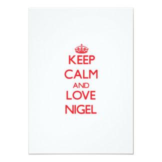 "Keep Calm and Love Nigel 5"" X 7"" Invitation Card"