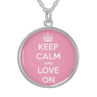 Keep Calm and Love On Pink and White Sterling Silver Necklace