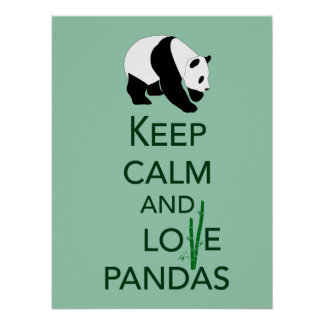 Keep Calm and Love Pandas Fine Art Print in Green