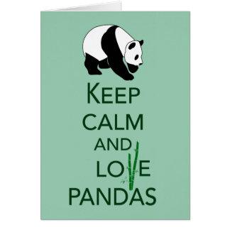 Keep Calm and Love Pandas Gift Art Print Greeting Card