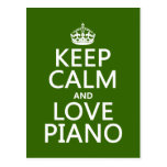 Keep Calm and Love Piano (any background colour) Postcard