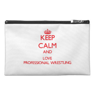 Keep calm and love Professional Wrestling Travel Accessory Bags