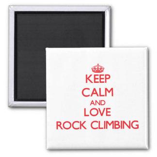 Keep calm and love Rock Climbing Fridge Magnet