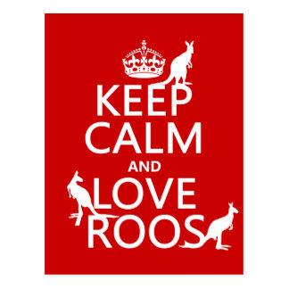 Keep Calm and Love 'Roos (kangaroo)  - all colors Postcard