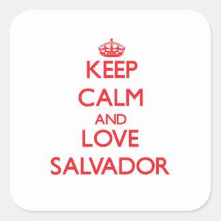 Keep Calm and Love Salvador Square Stickers