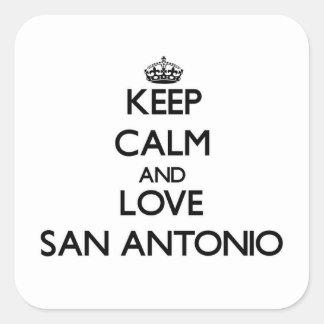 Keep Calm and love San Antonio Square Sticker
