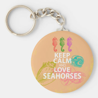 Keep Calm and Love Seahorses Gift Unique Design Key Ring