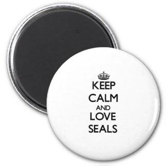 Keep calm and Love Seals Refrigerator Magnet