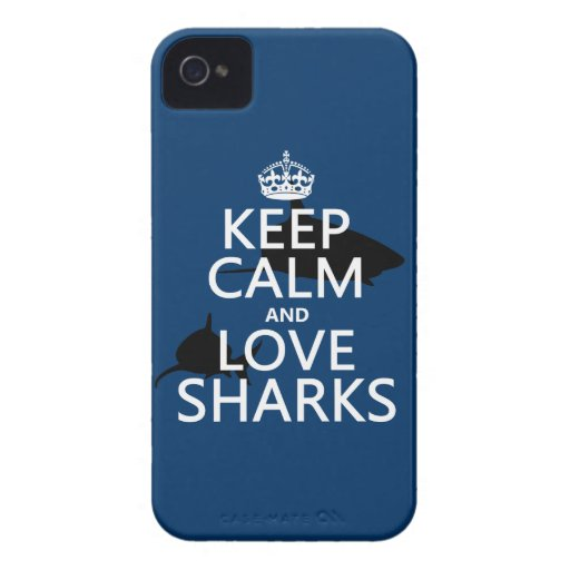 Keep Calm and Love Sharks (customizable colors) Case-Mate iPhone 4 Case
