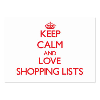 Keep calm and love Shopping Lists Business Card Templates