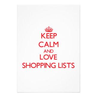 Keep calm and love Shopping Lists Custom Invites