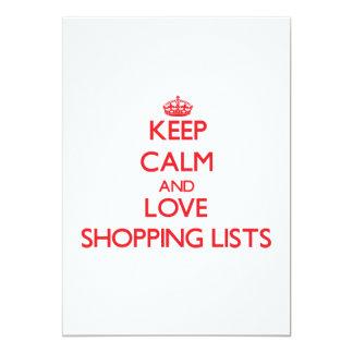 Keep calm and love Shopping Lists 13 Cm X 18 Cm Invitation Card