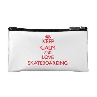 Keep calm and love Skateboarding Makeup Bags