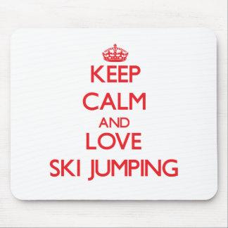 Keep calm and love Ski Jumping Mousepads