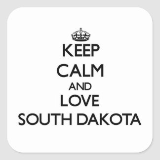Keep Calm and Love South Dakota Square Sticker