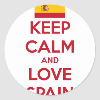 Keep Calm and Love Spain Classic Round Sticker