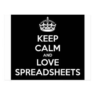 KEEP CALM AND LOVE SPREADSHEETS POSTCARD