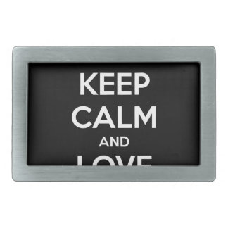 KEEP CALM AND LOVE SPREADSHEETS RECTANGULAR BELT BUCKLE