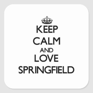 Keep Calm and love Springfield Square Sticker