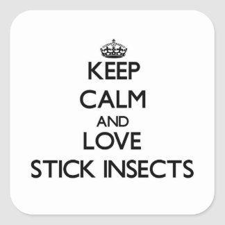 Keep calm and Love Stick Insects Square Stickers