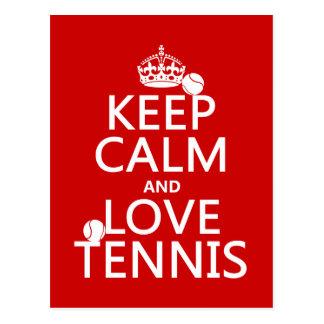 Keep Calm and Love Tennis (customise colour) Postcard