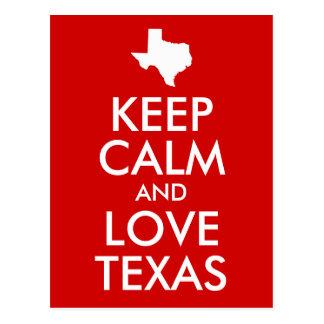 Keep Calm and Love Texas Red Postcard