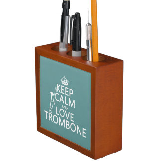 Keep Calm and Love Trombone (any background color) Desk Organiser
