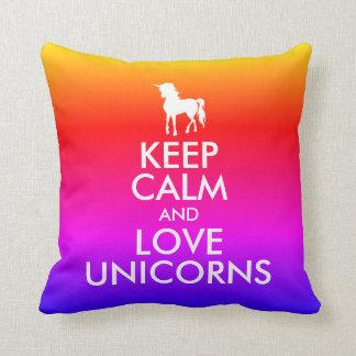 KEEP CALM AND LOVE UNICORNS RAINBOW OMBRE THROW PILLOW