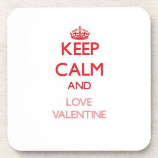Keep calm and love Valentine Beverage Coasters