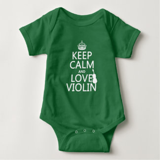 Keep Calm and Love Violin (any background color) Baby Bodysuit
